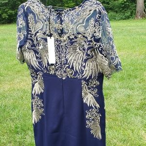 Navy and gold mother of the bride dress, fancy